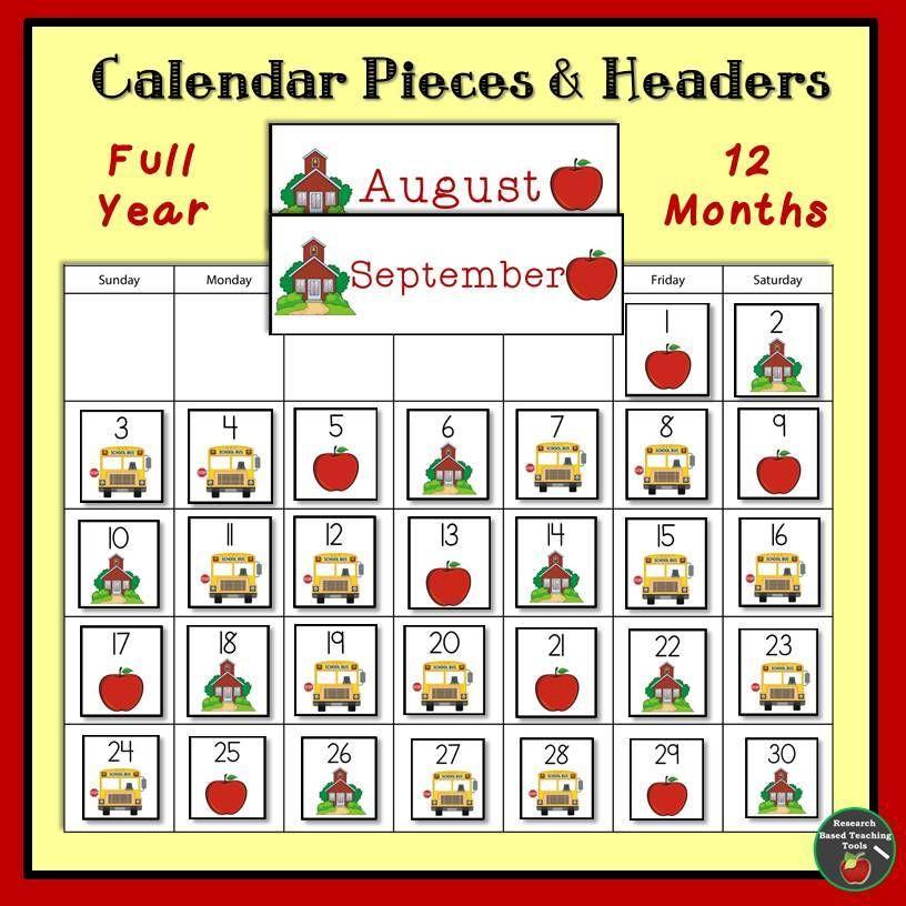 Key Words Classroom Calendar Calendar Pieces Patterns Math Pre