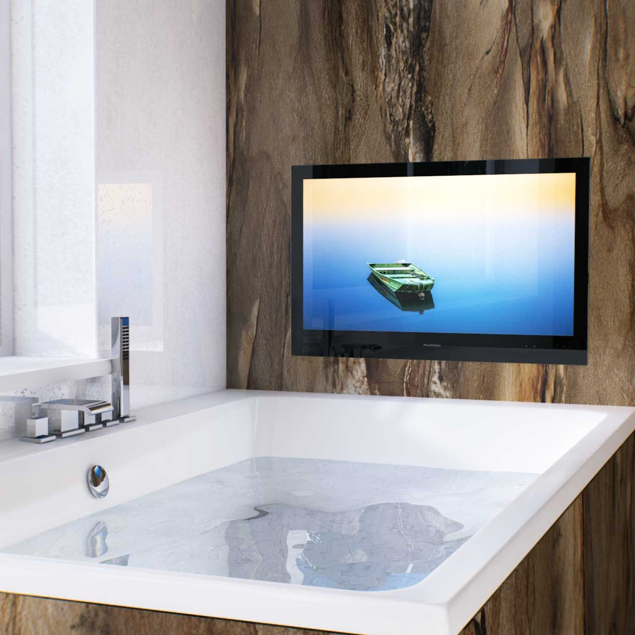 Enjoy Some R R In Your New Bathroom With This 32 Inch Stylish Black Bathroom Tv Bathroom Televisions Tv In Bathroom Black Bathroom