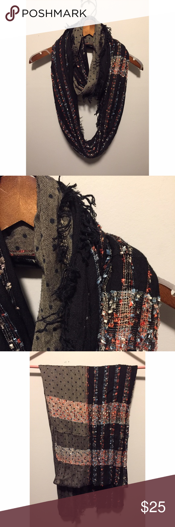 Anthropologie Mixed Media Infinity Scarf Anthropologie knit infinity scarf features a combination of patterns. Never worn. In perfect condition. Anthropologie Accessories Scarves & Wraps
