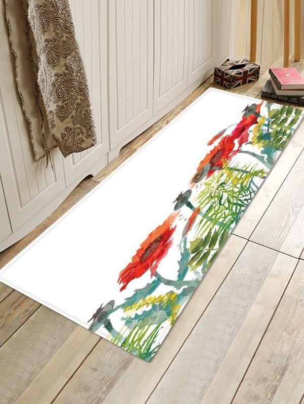 Flower Plant Print Design Floor Mat Floor Mats Rugs On Carpet