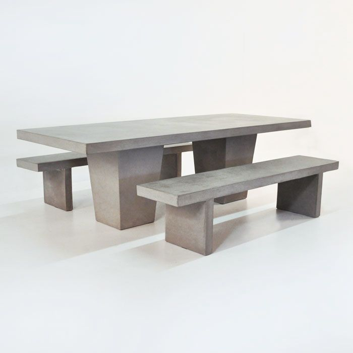 This Raw Concrete Table Set Comes Complete With 2 Concrete Benches