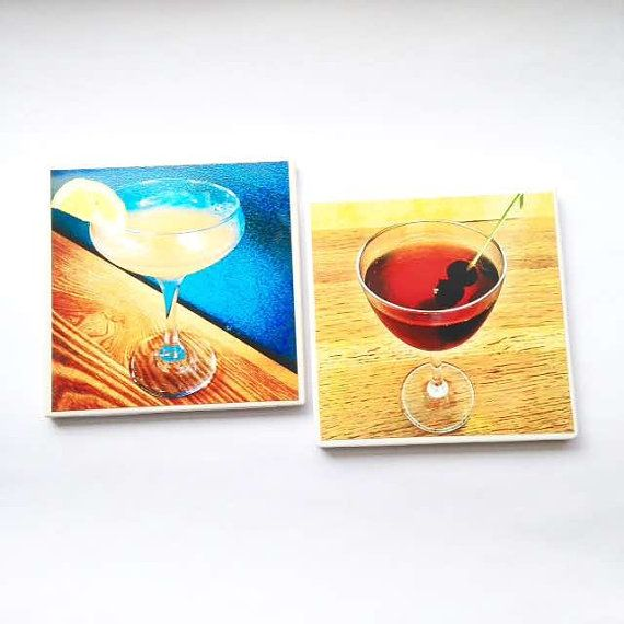 Cocktail Coasters - Barware - Drink Coaster Set - Bar Gift - Unique Home Gift - Home Bar Decor - Tile Coasters