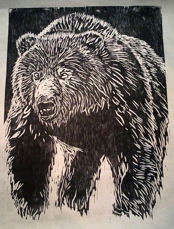 Japanese WOODBLOCK PRINT  Bear by inkoutsidetheblocks on Etsy, $70.00