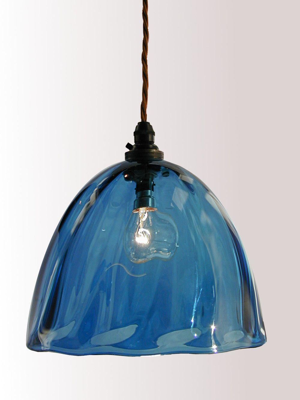 Steel blue hand blown glass pendant lampshade interesting home beanie pendant aloadofball Choice Image