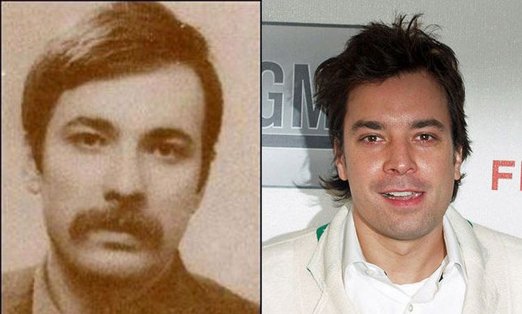 20 Celebrities And Their Historical Doppelgangers Together Celebrity Twins Jimmy Fallon Celebrities