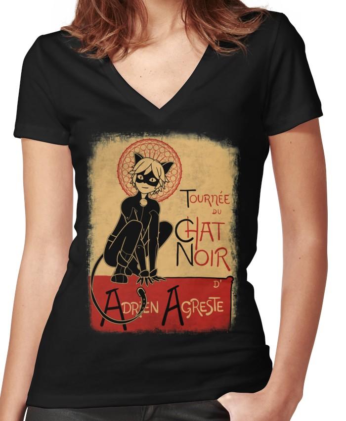 Tournee Du Chat Noir Women S Fitted V Neck T Shirt Sassy Shirts Tournee Du Chat Noir Chat Noir