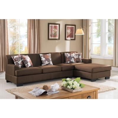 2 Piece Brown Linen Sectional S0072 2pc The Home Depot Brown Sofa Living Room Brown Living Room Living Room Furniture Styles