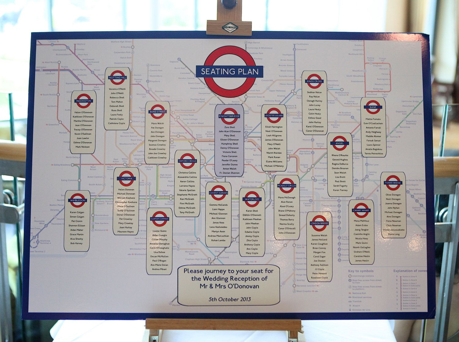 London Tube Map Table Seating Plan with