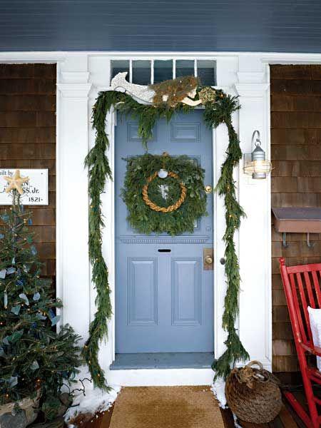 Door With Wreath Garland And Mermaid Coastal
