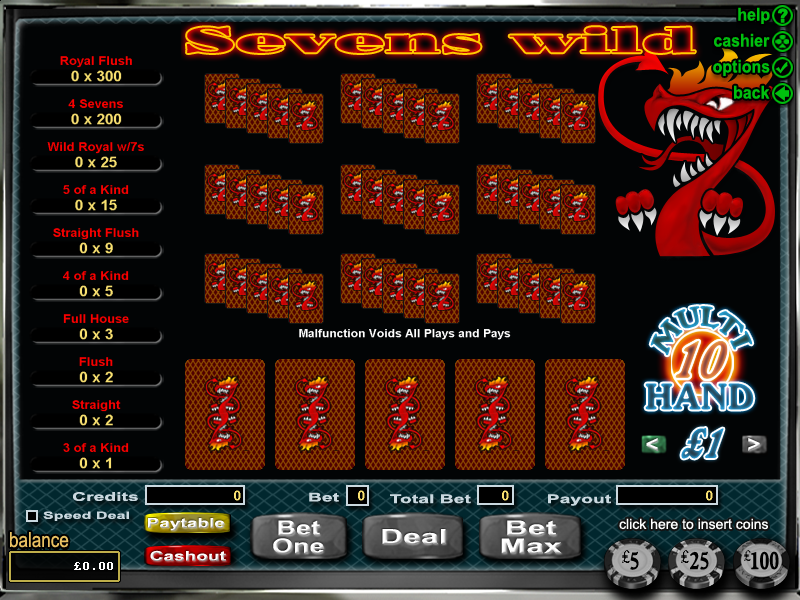 Sevens Wild Video poker, Online casino games, Online