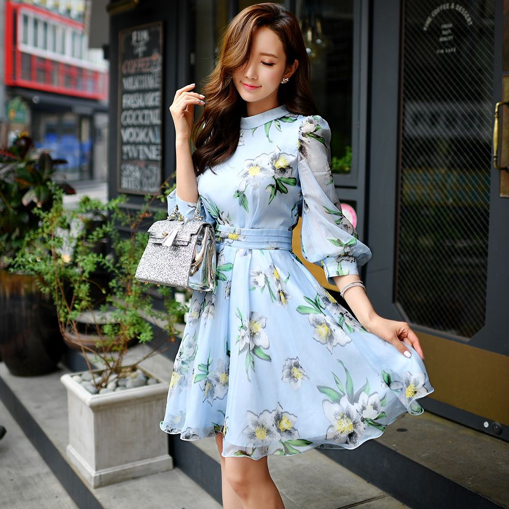 Light Blue Print Dress