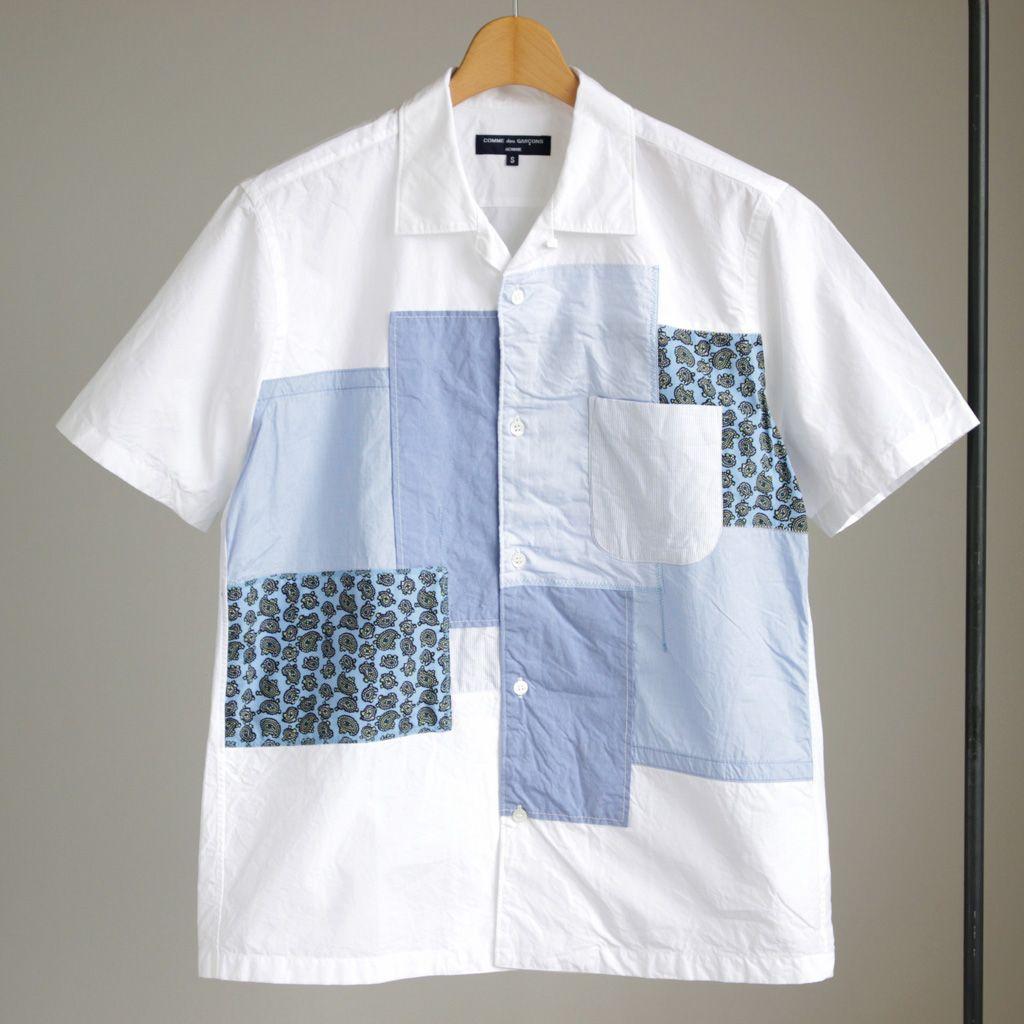 4ba943bea49 COMME des GARCONS HOMME - P W Short Sleeve Stripe×Paisley Mix Short Sleeve  Open Collar Shirt  white×stripe×paisley