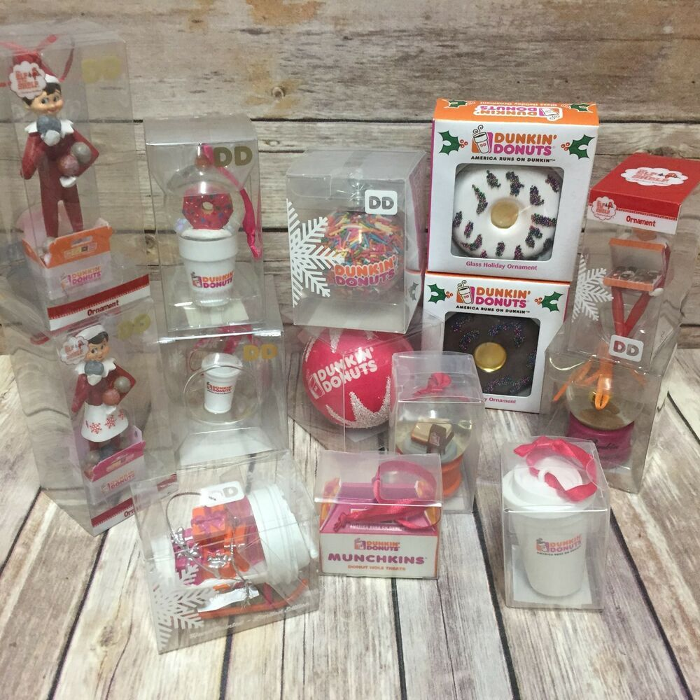 Dunkin Donuts Ornament Elf Pink Ball Sweater You Choose New