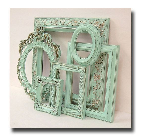 Shabby chic frames pastel mint green picture frame set - Cuadros shabby chic ...