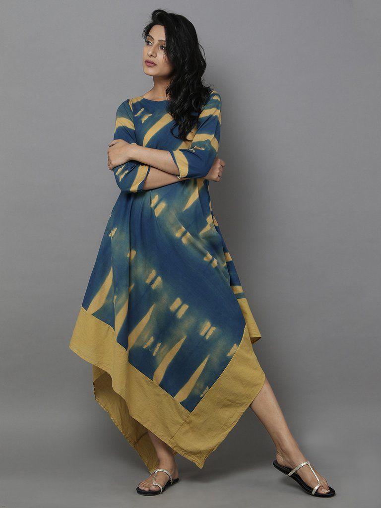 Mustard blue clamp dyed bias dress indian wear pinterest clamp