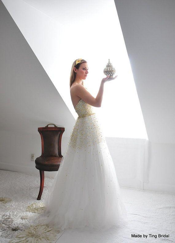 JaneGold und Silber Pailletten Hochzeit von TingBridal auf Etsy, $1550.00