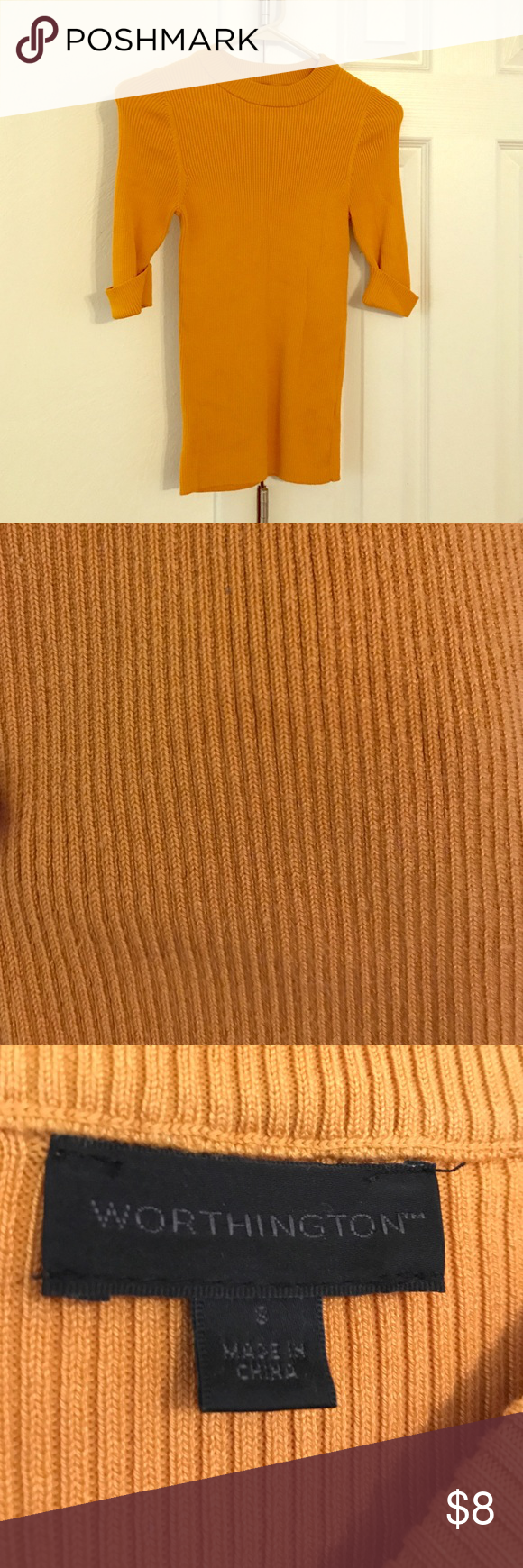 Worthington Three Quarter Length Sweater Great professional sweater! Looks great paired with brown or gray. Slight pilling around the armpits as pictured. Worthington Sweaters Crew & Scoop Necks