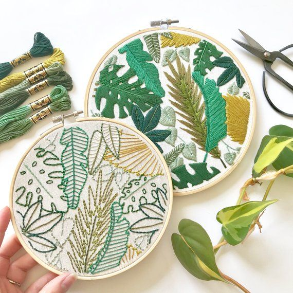 Welcome to the Jungle Embroidery Pattern. Jungle Leaves Design. Botanical Art. Instant Download PDF. DIY Home Decor. Beginner Embroidery #embroiderypatternsbeginner