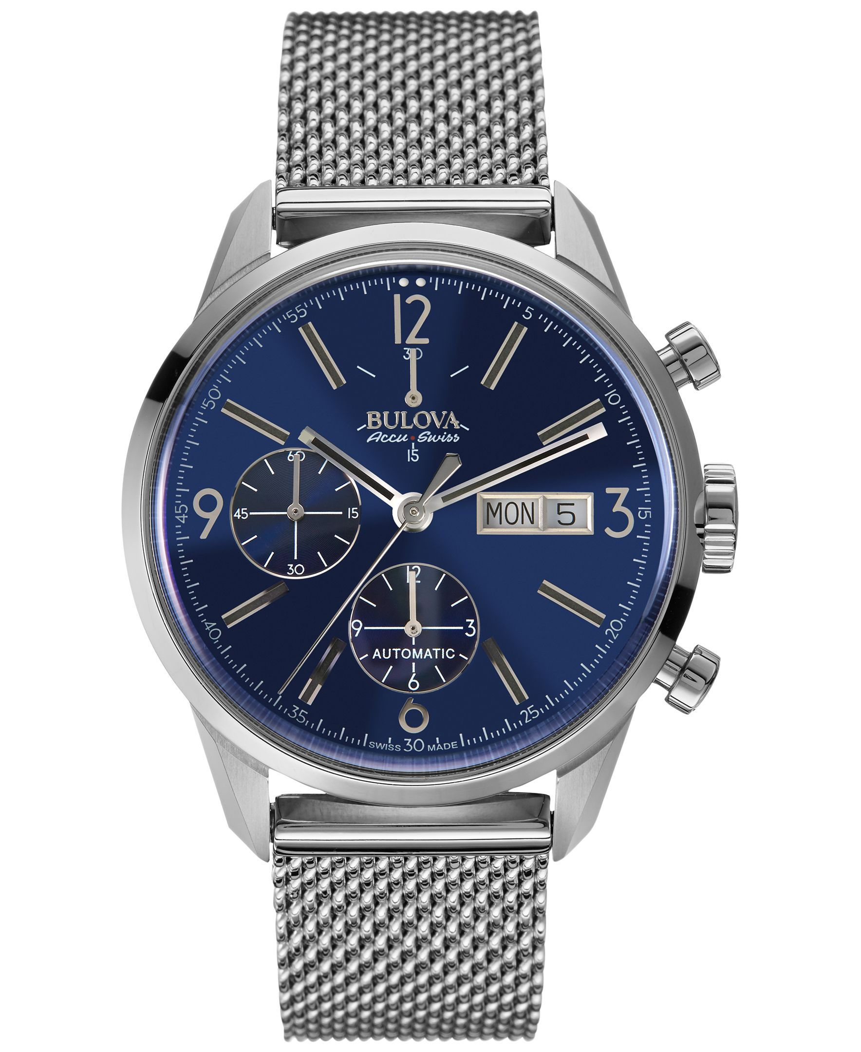 bulova accuswiss menu0027s automatic chronograph murren stainless steel mesh bracelet watch 41mm 63c117