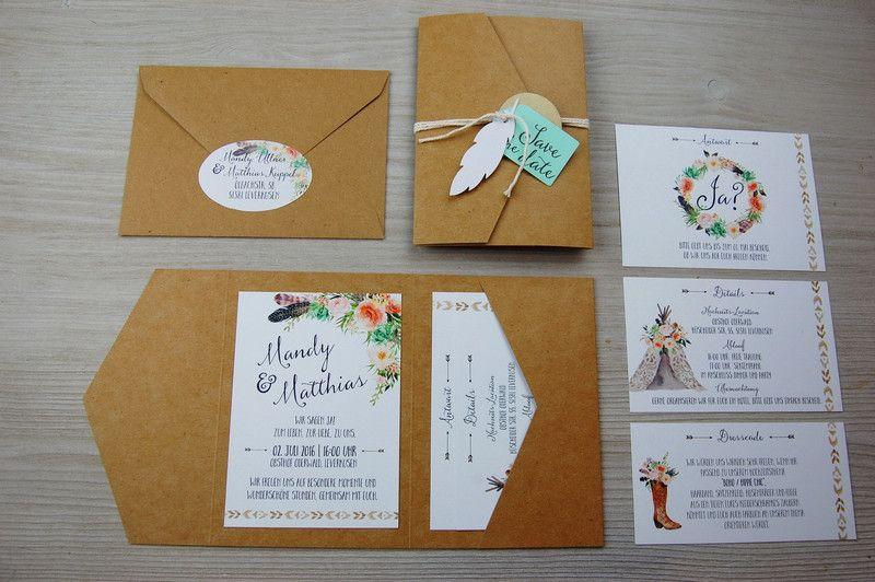 Einladungskarten   POCKETFOLD L 50x Einladungskarten Set Hochzeit   Ein  Designerstück Von Wildchildwedding Bei DaWanda