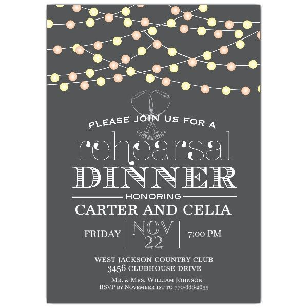 Rehearsal Dinner Invitation Idea  Black Invites With Hanging