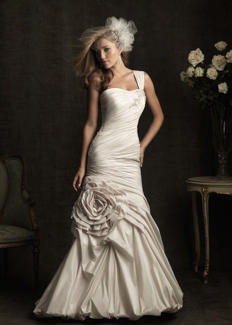 Elegant Exquisite Taffeta Mermaid One Shoulder Wedding Dress Dressily Com Allure Wedding Dresses Bridal Dresses Wedding Dress Styles [ 1118 x 800 Pixel ]