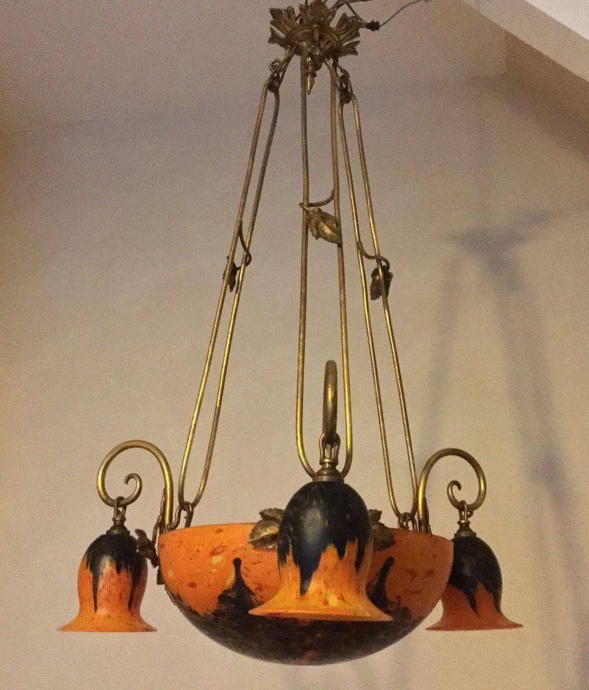 ancien lustre art d co p te de verre clichy monture bronze. Black Bedroom Furniture Sets. Home Design Ideas