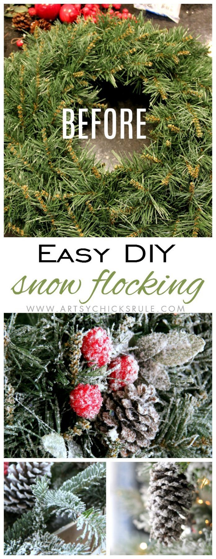 DIY Snow Flocking (wreaths, live branches and more