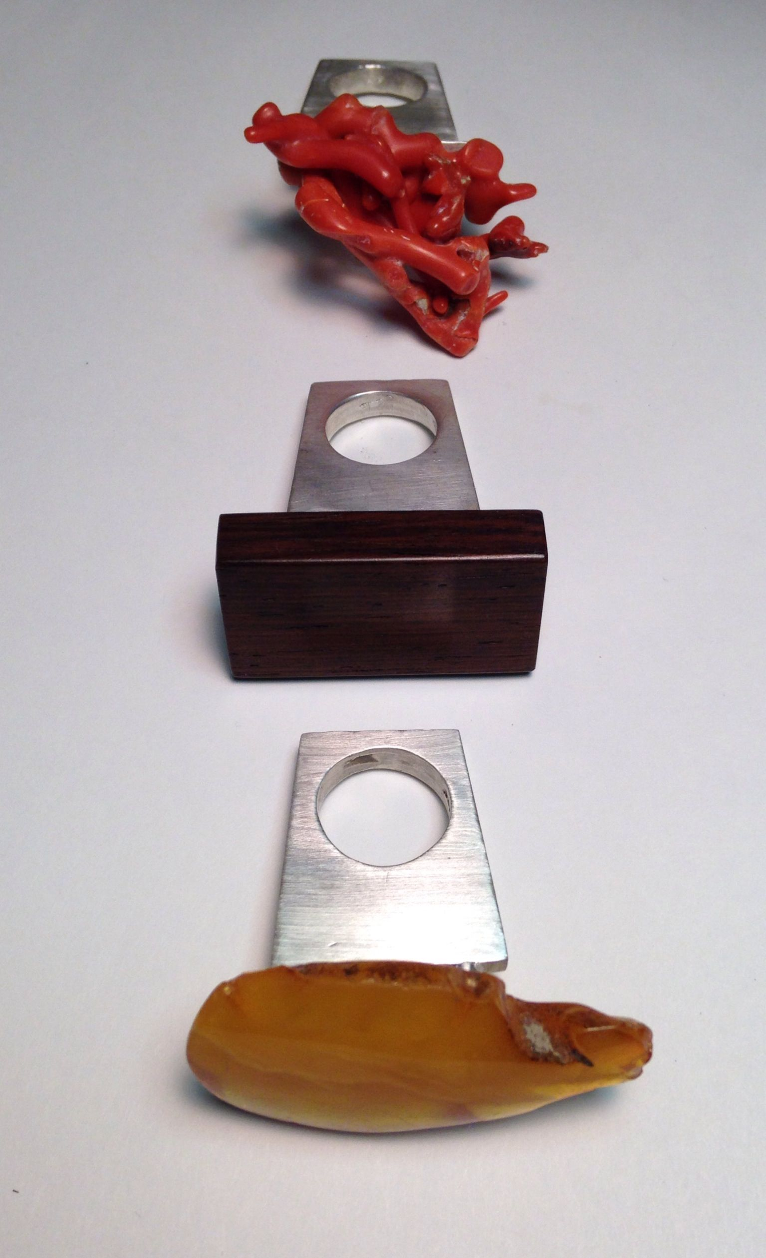 Heidi Abrahamson Three Elements, Baltic Amber, Rosewood, Coral,  Sterling Rings
