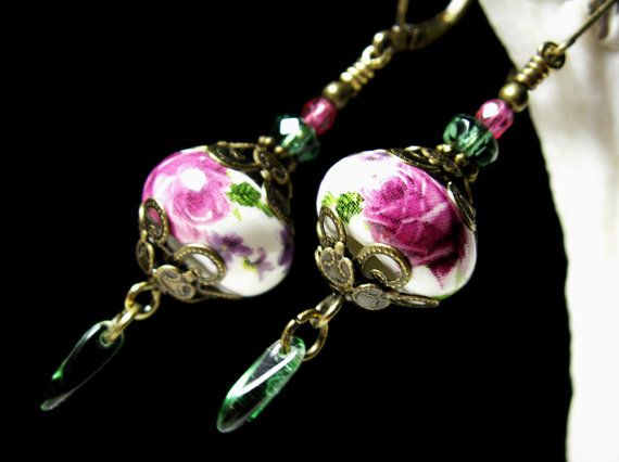 Pink Rosebud & Green Crystal Dangle Drop Victorian Earrings, Antiqued Gold Bronze Filigree, Titanic Temptations Vintage Bridal Style Jewelry