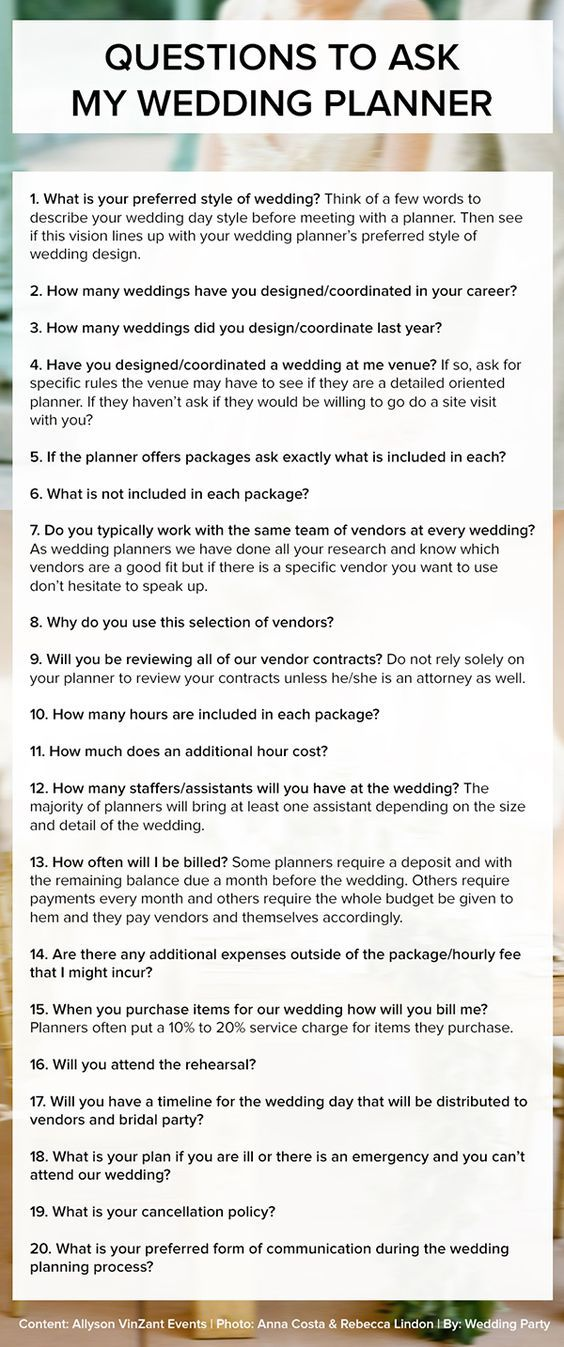 Wedding Advice Questions To Ask Your Wedding Planner  Wedding