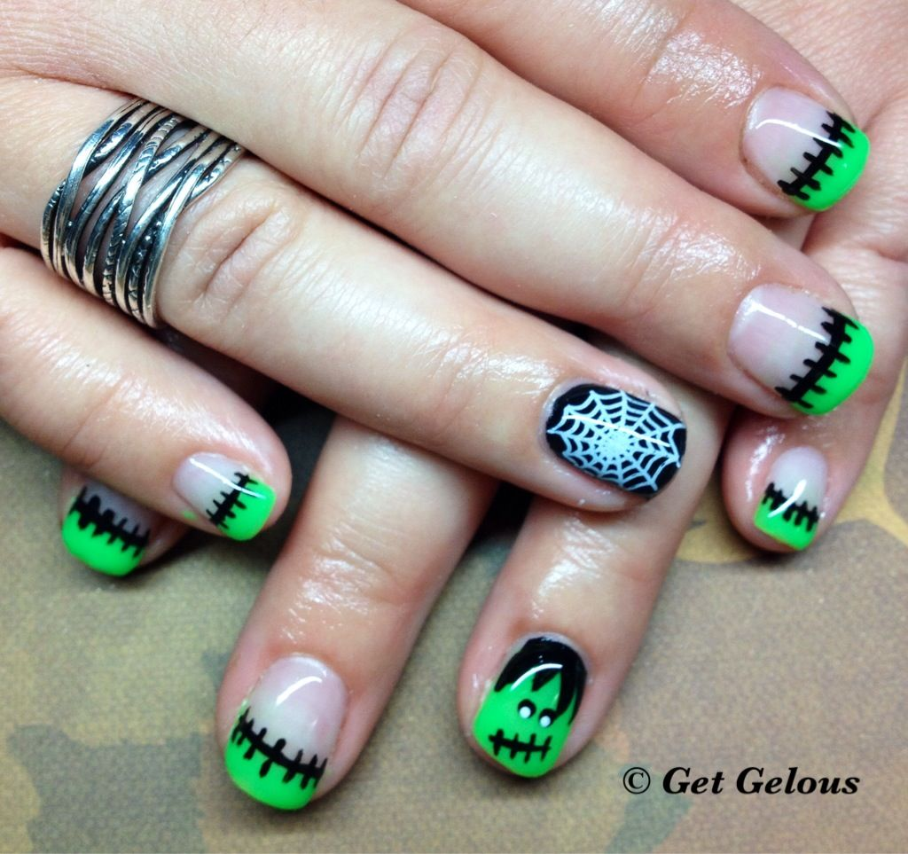 Love the neon green for Halloween | Gel nails, How to do ...