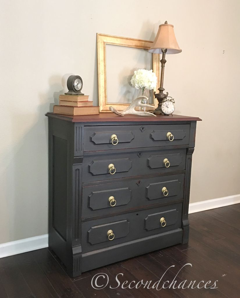 Chest Of Drawers Painted In Annie Sloan Graphite With Dark Wax Black Painted Furniture Furniture Painted Dresser