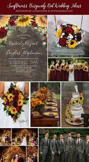 Red Roses Daisies Rustic Wedding Invitation  Fall wedding in burgundy red and yellow Use a cascading bouquet with yellow sunflowers bright reSunflowers Red Roses Daisies...