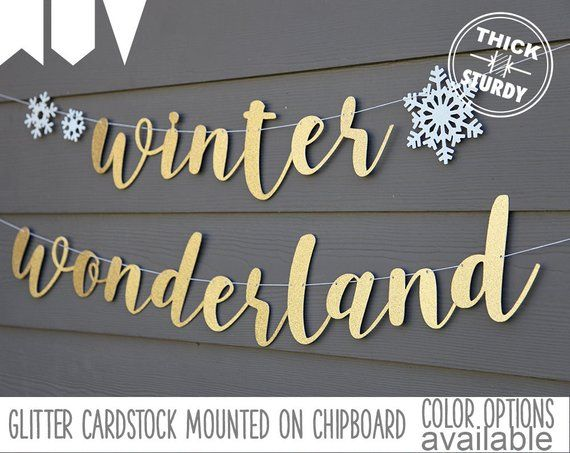Winter wonderland banner, with snowflakes, christmas banner, glitter party decorations, cursive banner