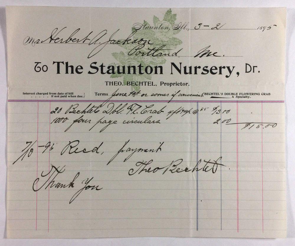 The Staunton Nursery Antique Illustrated Billhead Staunton