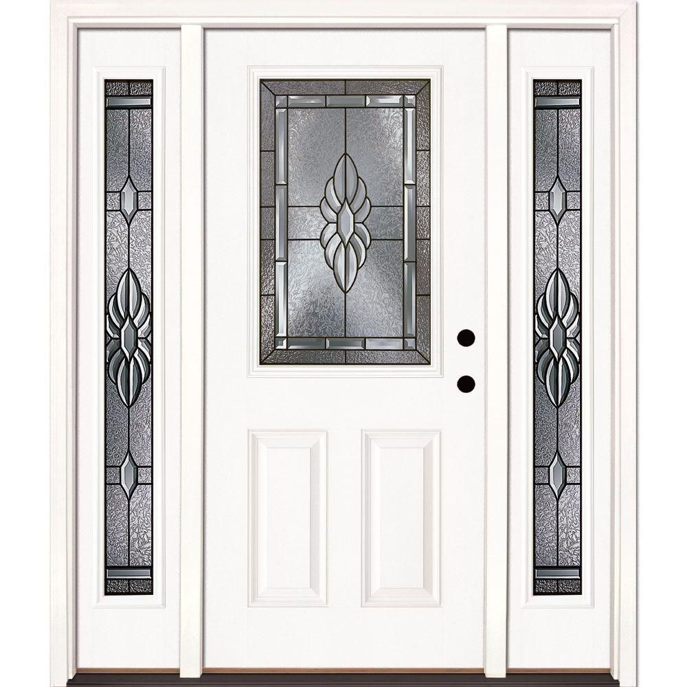 Masterpiece 59 1 4 In X 79 1 2 In Fiberglass White Left Hand Outswing Hinged 3 4 Lite Patio Door With 4 Patio Doors Fiberglass Patio Doors Hinged Patio Doors