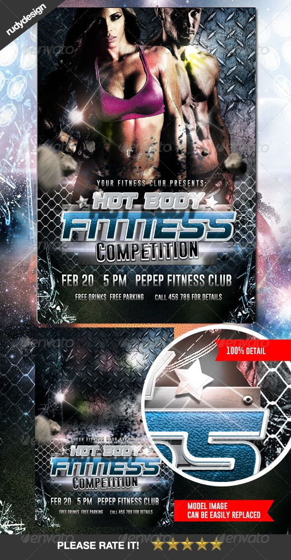 Fitness Gym Workout Competition Flyer  Flyer Template Template And