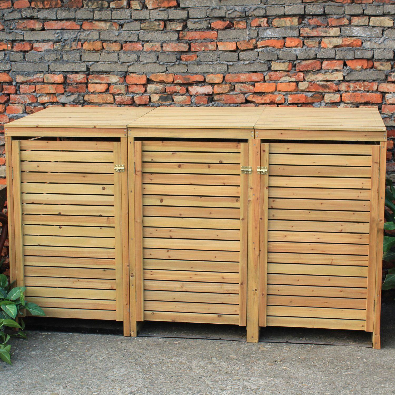 Woodside Wooden Outdoor Wheelie Bin Cover Storage Cupboard Screening Unit