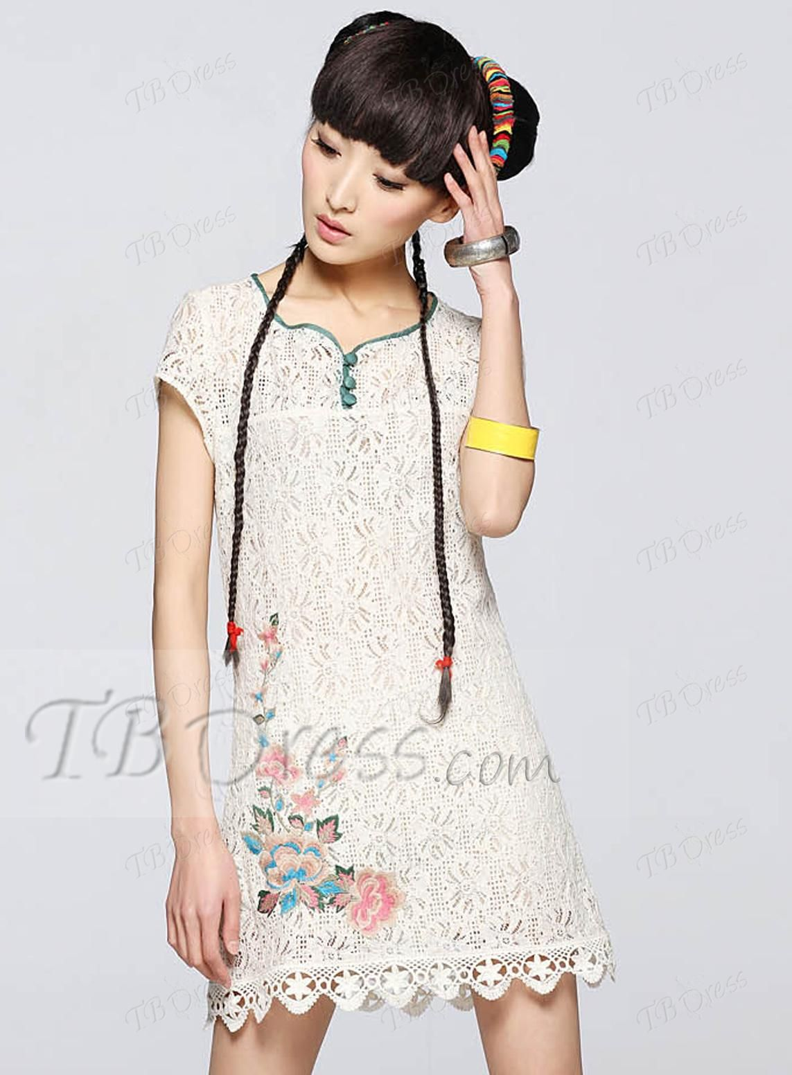 Impressive Short Sleeve Chiffon Lace Chinese Style Day Dress