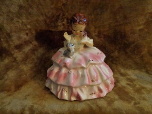 Vintage-Josef-Originals-BONNEY-Figurine-Girl-Playing-W-Kitty-Cat-NICE