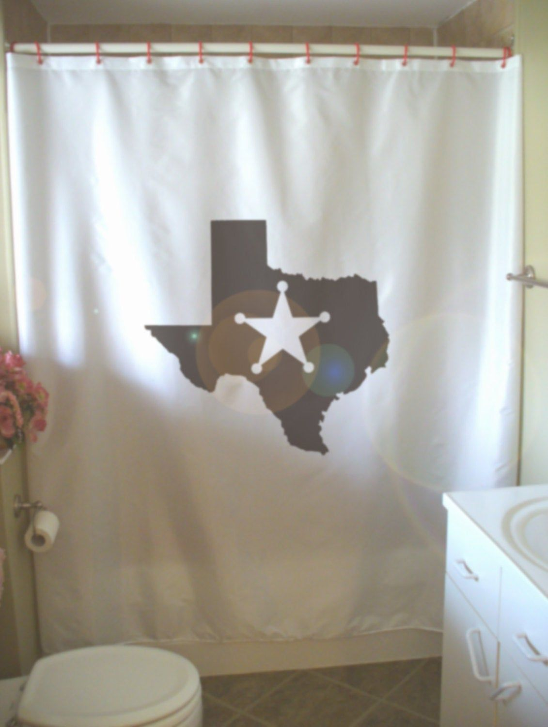 Texas Lone Star Shower Curtain Map State Usa Republic America