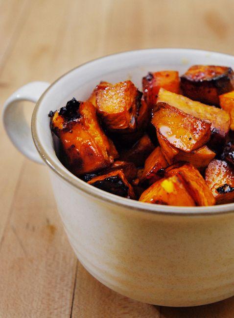 Roasted Balsamic Sweet Potatoes Balsamic Sweet Potatoes Recipes Food