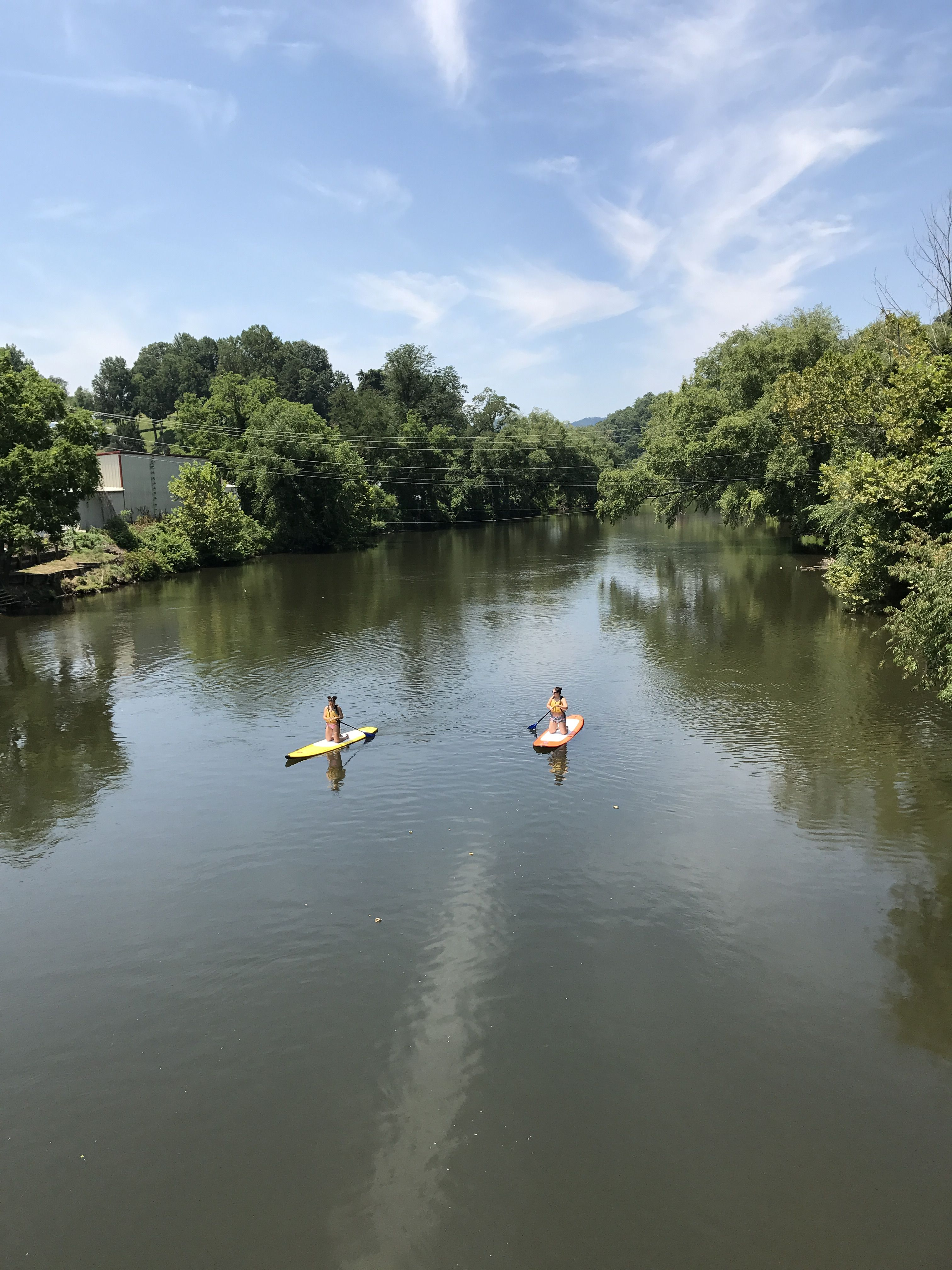 Paddle boarding on the Tuckaseegee River in Bryson City, NC