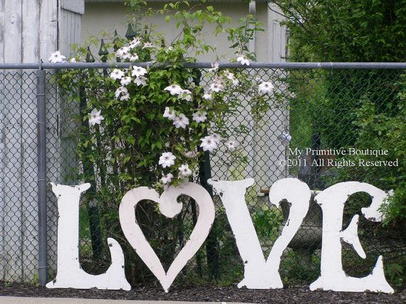 Love Letters 4 Distressed Large Wooden Wedding Reception Decor Hand Paint Shabby
