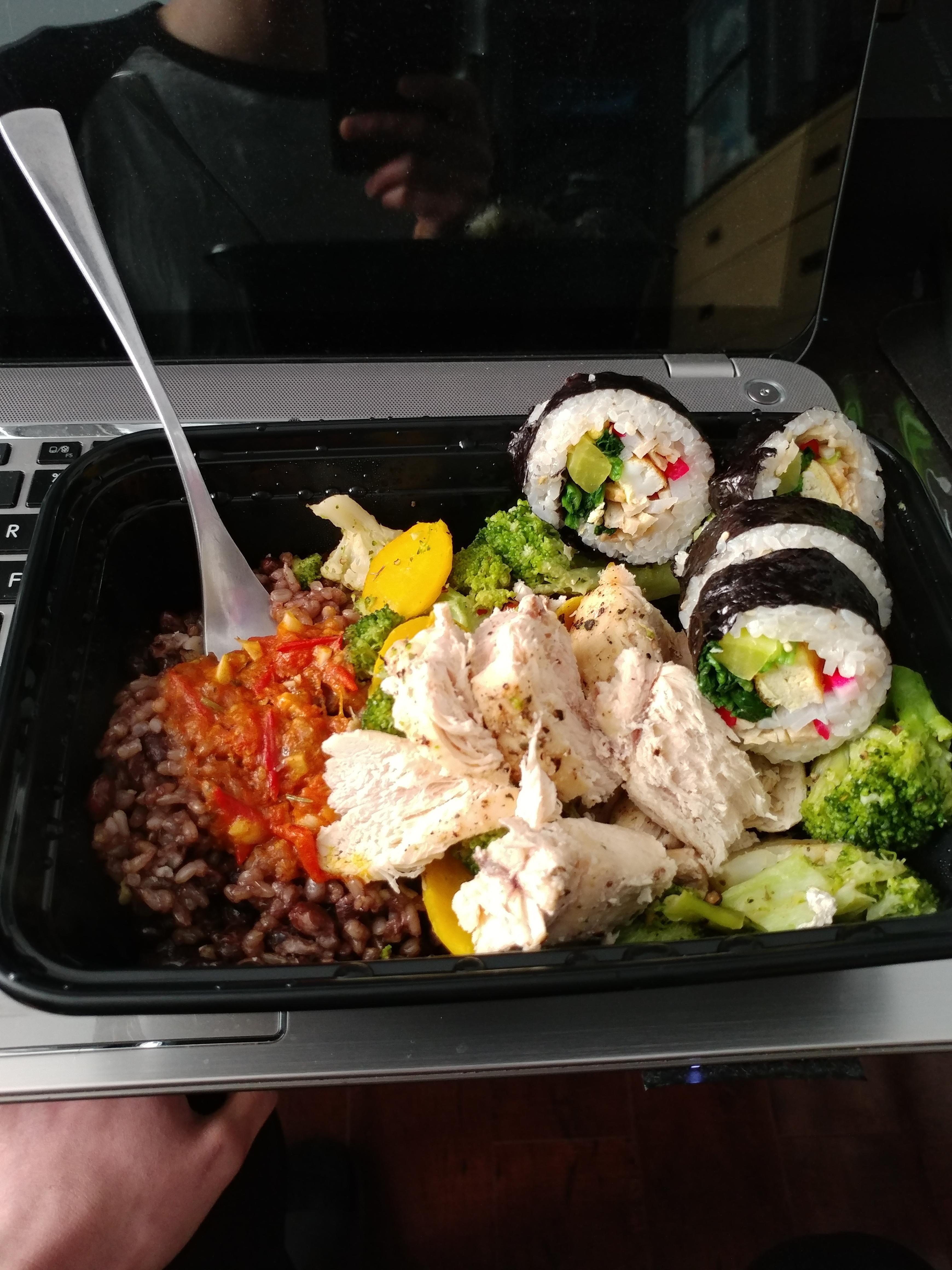 Homemade rice chicken veggies sushi