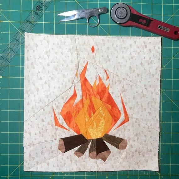 Fireside Foundation Paper Piecing Pattern  Fire, Summer, Camping, Campfire, Cozy Fall Quilt is part of Foundation paper piecing, Paper piecing, Paper piecing patterns, Paper piecing tutorial, Foundation paper piecing patterns, Quilt fabric - 4  seam allowance included in each section tips for printing and piecing  You will need intermediate foundation paper piecing knowledge  There are a lot of sharp angles and tight seams that can be difficult without patience or experience  I do include some tips for those with little experience, however this pattern does not include a tutorial for those who have never pieced before  I do recommend some youtube videos to get you started   The sewn block shown above was from a talented pattern tester, Jessica  Instagram @jekah a quilter Please note, this is copyrighted and cannot legally be shared with family or friends without them acquiring their own copy  In an effort to reduce copyright infringement, Etsy sometimes limits purchase downloads, so be sure to save the pattern to your computer