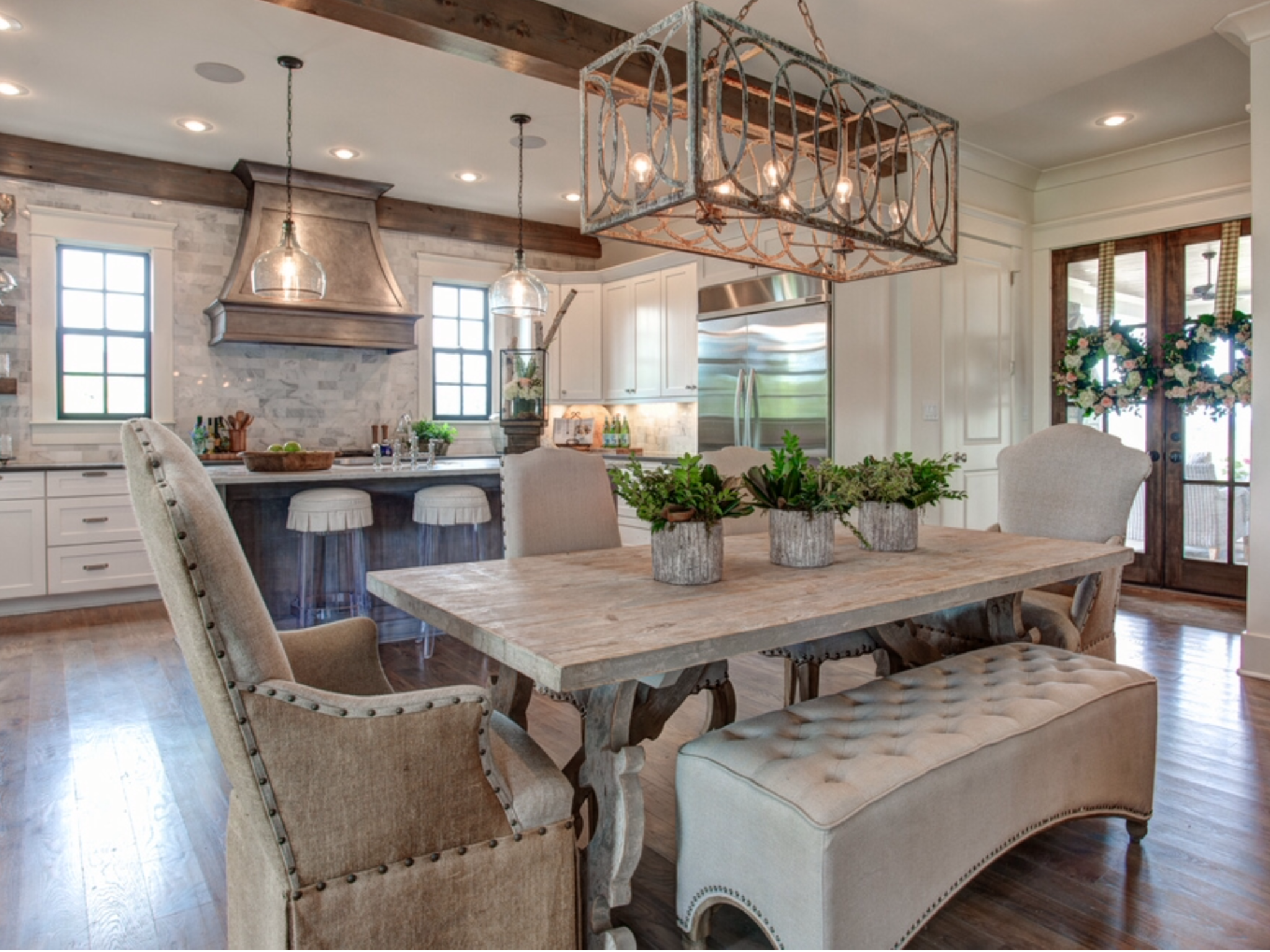 Pretty Kitchen And Dining Room With An Open Floor Plan Living
