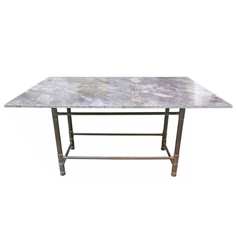 Unusual Copper and Exotic Granite Dining Table Granite dining