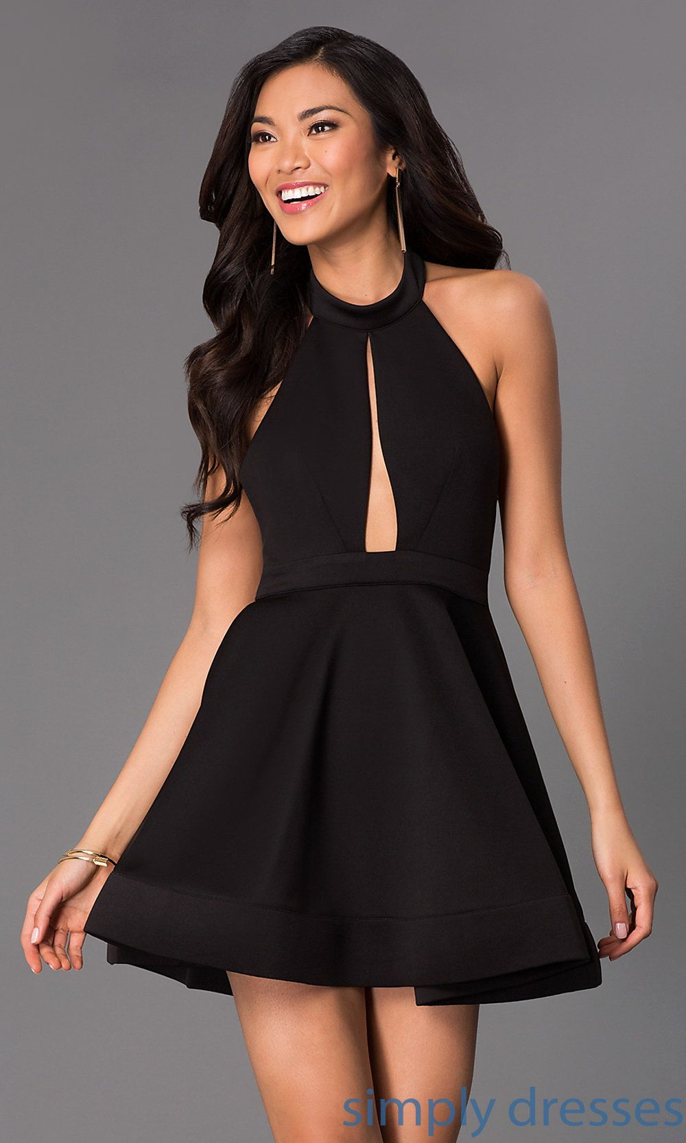 Short Black Halter Dress, Open Backs, Cut Out | Shops, Dresses for ...